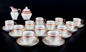 KPM Berlin Königin von Holland Purpur 12 Kaffeetassen mit Milchkanne und Zuckerdose, 12 coffee cups,