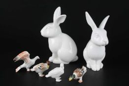 KPM Berlin 6 Tierfiguren, 6 animal porcelain sculptures,