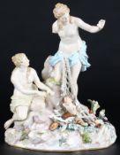 Meissen Allegorien Figurengruppe Tritonenfang, figure group capture of the tritons,