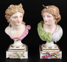 Meissen Büsten des Gottes Apollo und Göttin Diana, bust of god apollo and goddess diana,