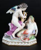 Meissen Figurengruppe Amor mit Nixe, Amor with mermaid,
