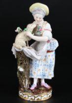 Meissen Mädchen mit Lamm, girl with lamp,