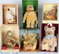 Steiff Konvolut von 6 Stofftieren, Steiff stuffed animals,