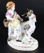 Meissen Mädchen mit Ziegenbock, boy with goat,