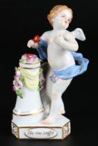 """Meissen Devisenkind """"Un me suffit"""", cupid with rosy pillar,"""