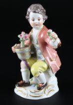 Meissen Gärtnerkind mit Blumentopf, gardeners child with cachepot,