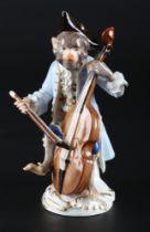 Meissen Bassgeiger aus der Affenkapelle, bass violinist monkey chapel,