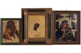3 Porzellan Ikonen - Heinrich Villeroy & Boch und Drache Solingen, 3 porcelain icons,