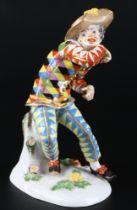Meissen Italienische Komödie Harlekin, porcelain harlequin sculpture,