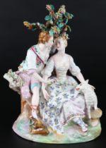 Meissen 18. Jahrhundert großes Schäferpaar, loving couple 18th century,