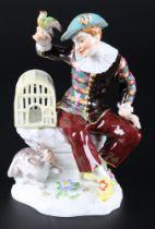 Meissen Harlekin mit Vogelkäfig, harlequin figure,