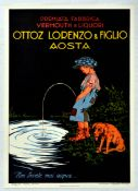 Advertising Poster Ottoz Lorenzo Figlio Vermouth Alcohol Drink