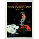Advertising Poster Ottoz Lorenzo Figlio Vermouth Alcohol Drink