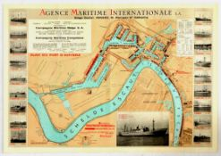 Advertising Poster Antwerpen Port Map International Shipping Agency