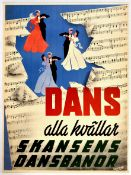 Advertising Poster Skansen Dance Art Deco Sweden