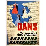 Advertising Poster Skansen Dance Art Deco Sweden