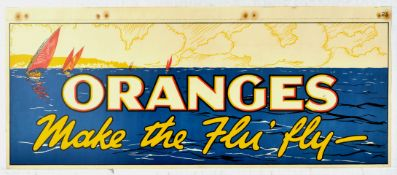 Advertising Poster Sailing Oranges Make the Flu Fly