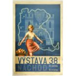 Advertising Poster Czech Exhibition Young Girl