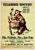Advertising Poster Eclaireurs Genevois Geneva Boy Scouts