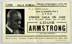 Advertising Poster Louis Armstrong Jazz Gala Lyon France 1934