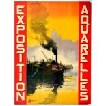 Advertising Poster Exposition Aquarelles ?Antoine Barbier? France