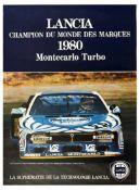 Advertising Poster Lancia World Champion Brands Monte Carlo Turbo