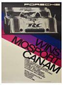 Advertising Poster Porsche 917 Wins Mosport CanAm Crown Cola Valvoline Holiday Inn