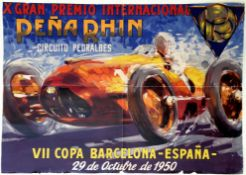 Sport Poster Pena Rhin Grand Prix Barcelona Spain Pedralbes Ferrari