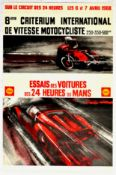 Advertising Poster Shell 24 Hours Le Mans Motorcycle and Car Race