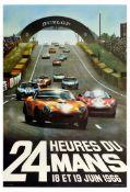 Advertising Poster 24 Heures du Mans 1966 Ford GT40 Ferrari Dunlop