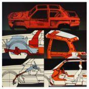 Advertising Poster BMW E21 Body Frame Pop Art Cutaway