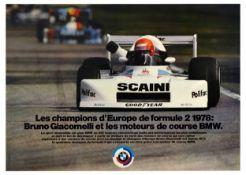 Advertising Poster BMW Champion Europe Formula 2 Bruno Giacomelli