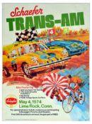 Advertising Poster Schaefer TransAm Race Porsche Corvette Lime Rock Connecticut