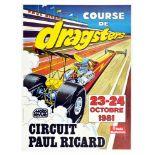 Advertising Poster Drag Racing Dragsters Circuit Paul Ricard