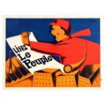 Advertising Poster Le Peuple Belgium Newspaper Art Deco