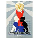 Advertising Poster UNICEF Anniversary National Lottery Spain
