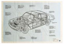 Advertising Poster BMW Car Blueprint 316 318 320 320i Models