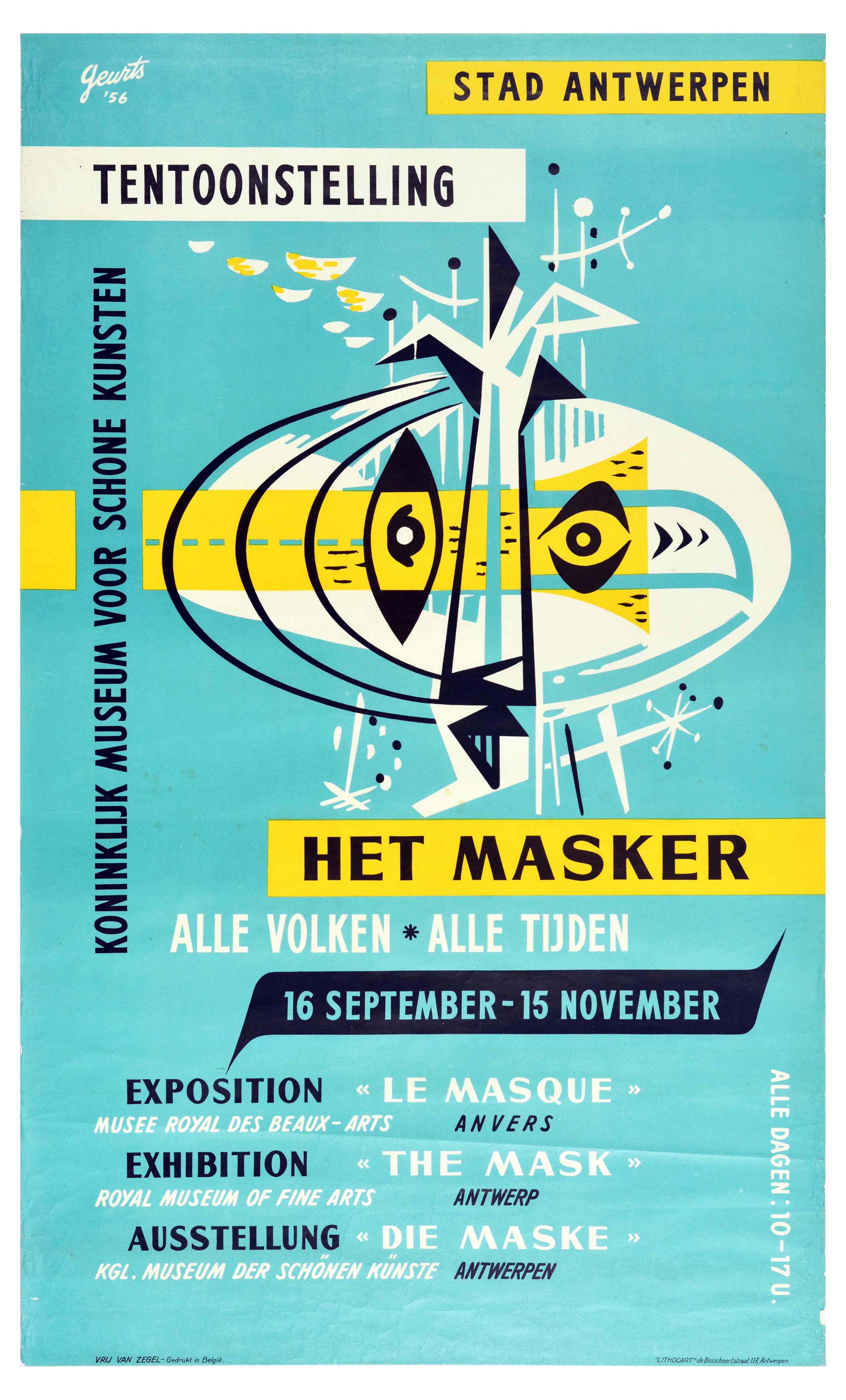 Advertising Poster Mask Exhibition Antwerpen Midcentury Modern