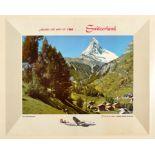 Travel Poster Zermatt Matterhorn Trans World Airlines TWA Switzerland