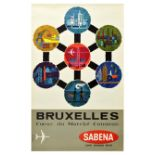 Travel Poster Brussels Sabena Belgium Airlines