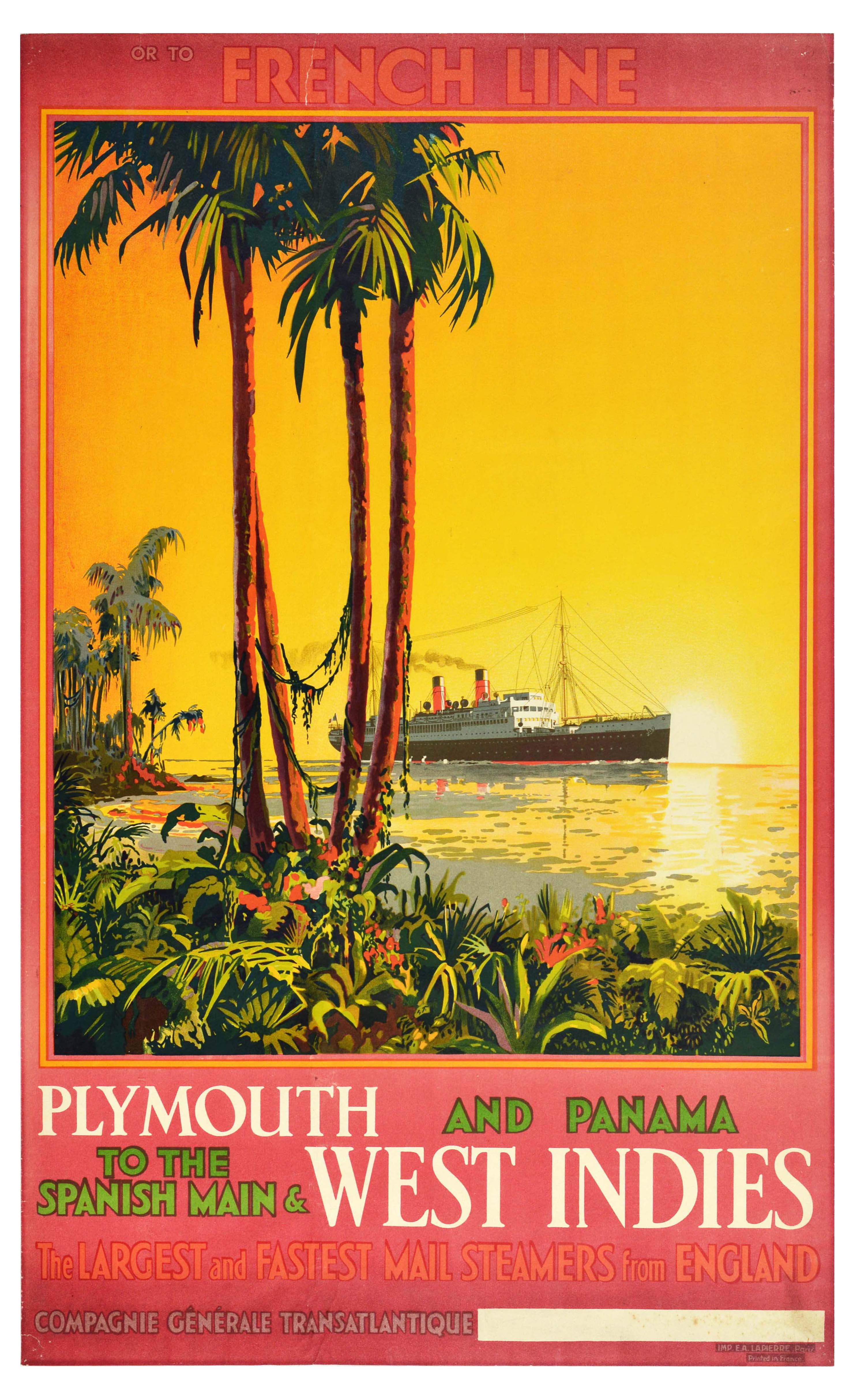 Travel Poster French Line Cruise Plymouth Panama West Indies