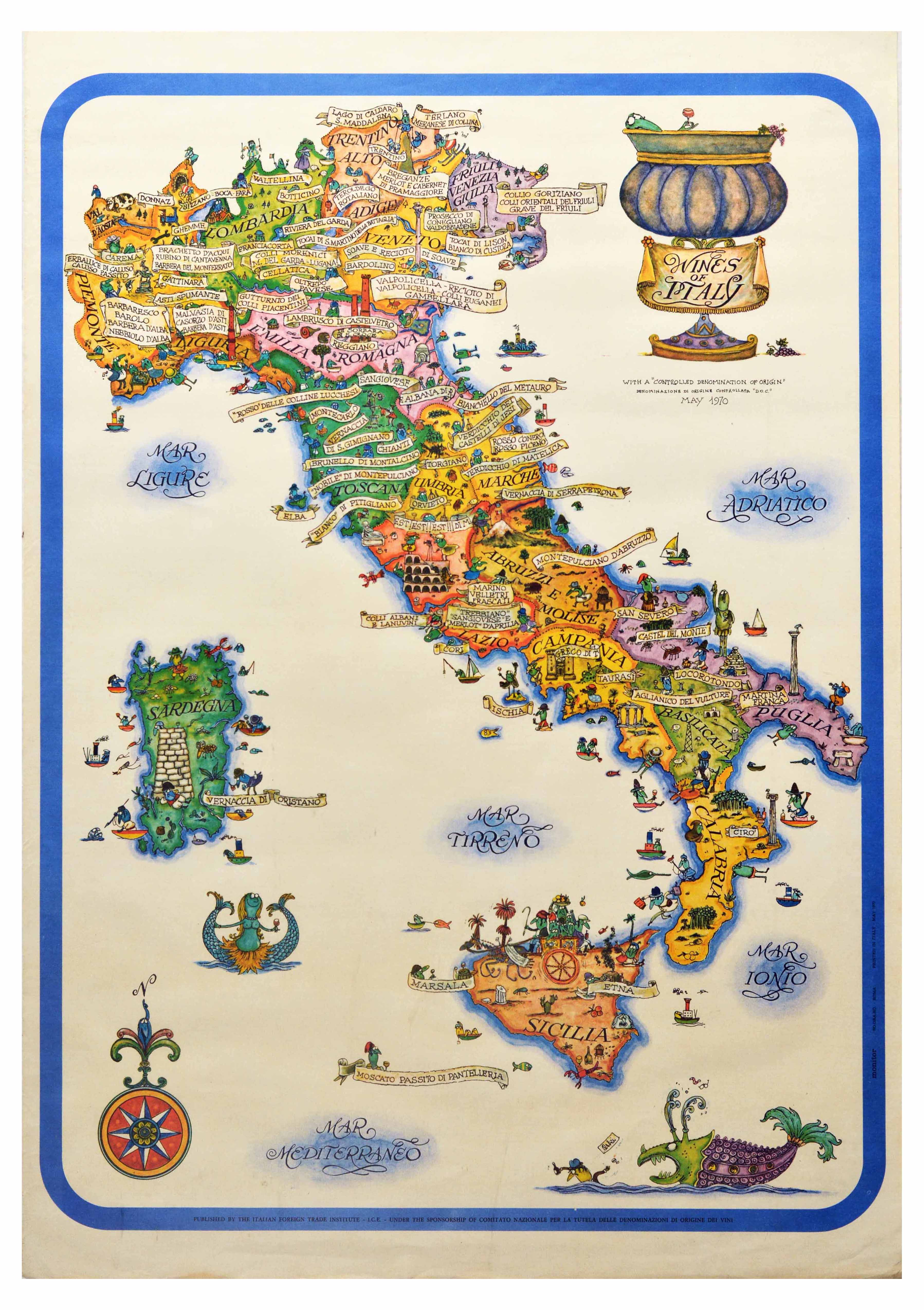 Advertising Poster Wines of Italy Map
