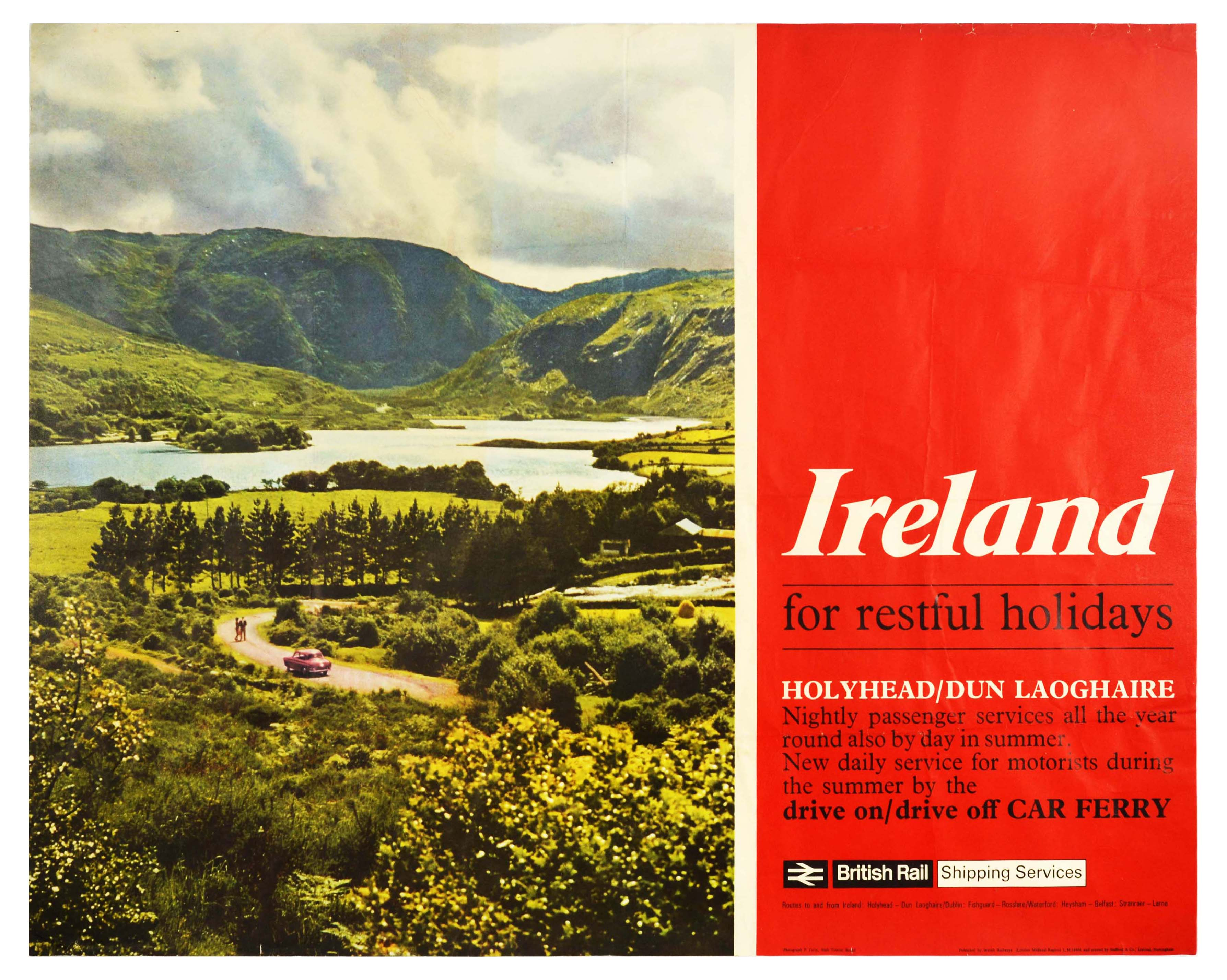 Travel Poster British Railways Ireland Holiday Holyhead Dun Laoghaire