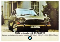 Advertising Poster BMW Glas 3000 V8 Car