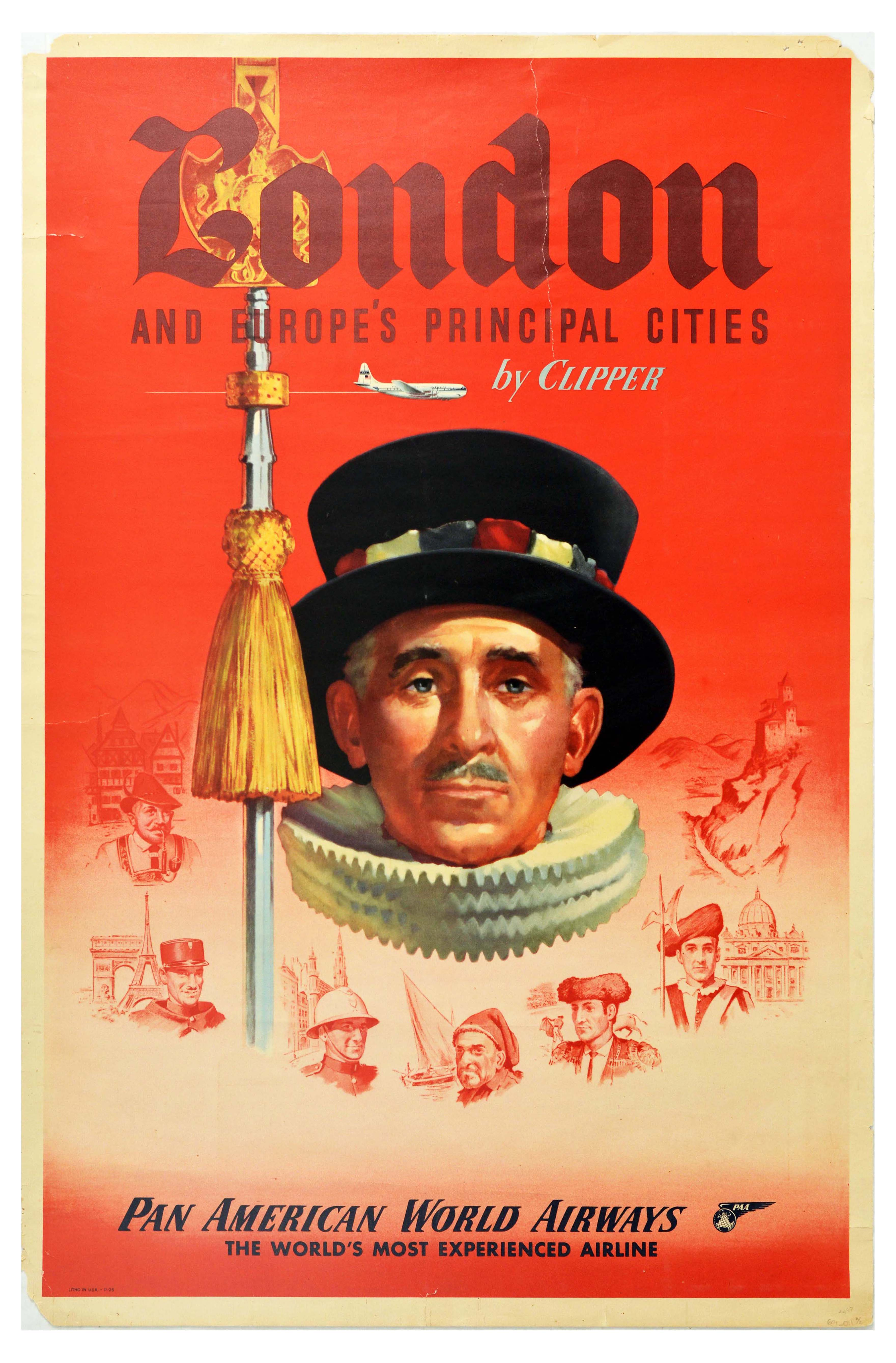 Travel Poster Pan Am London and Europe Beefeater