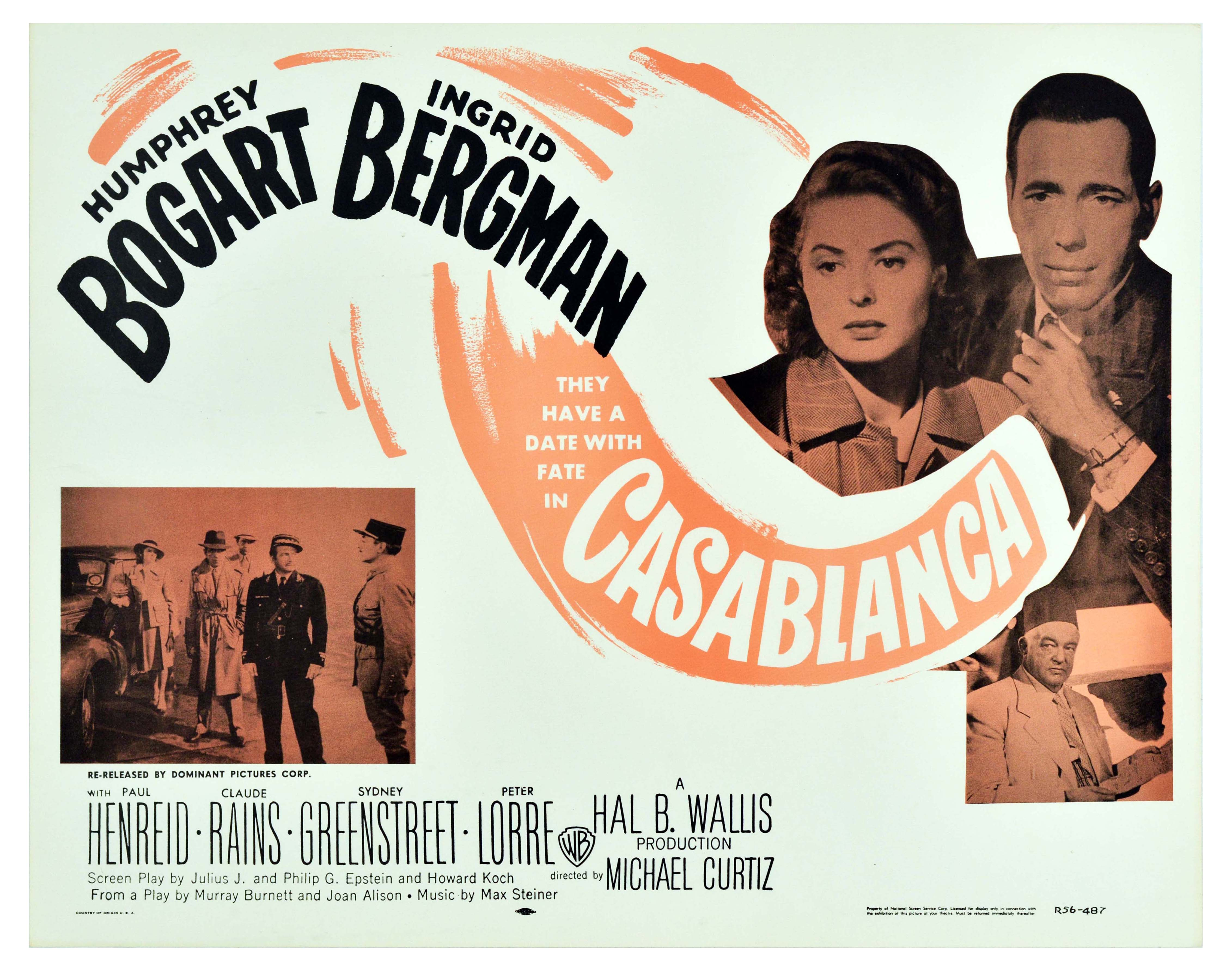 Movie Poster Casablanca Bogart Bergman