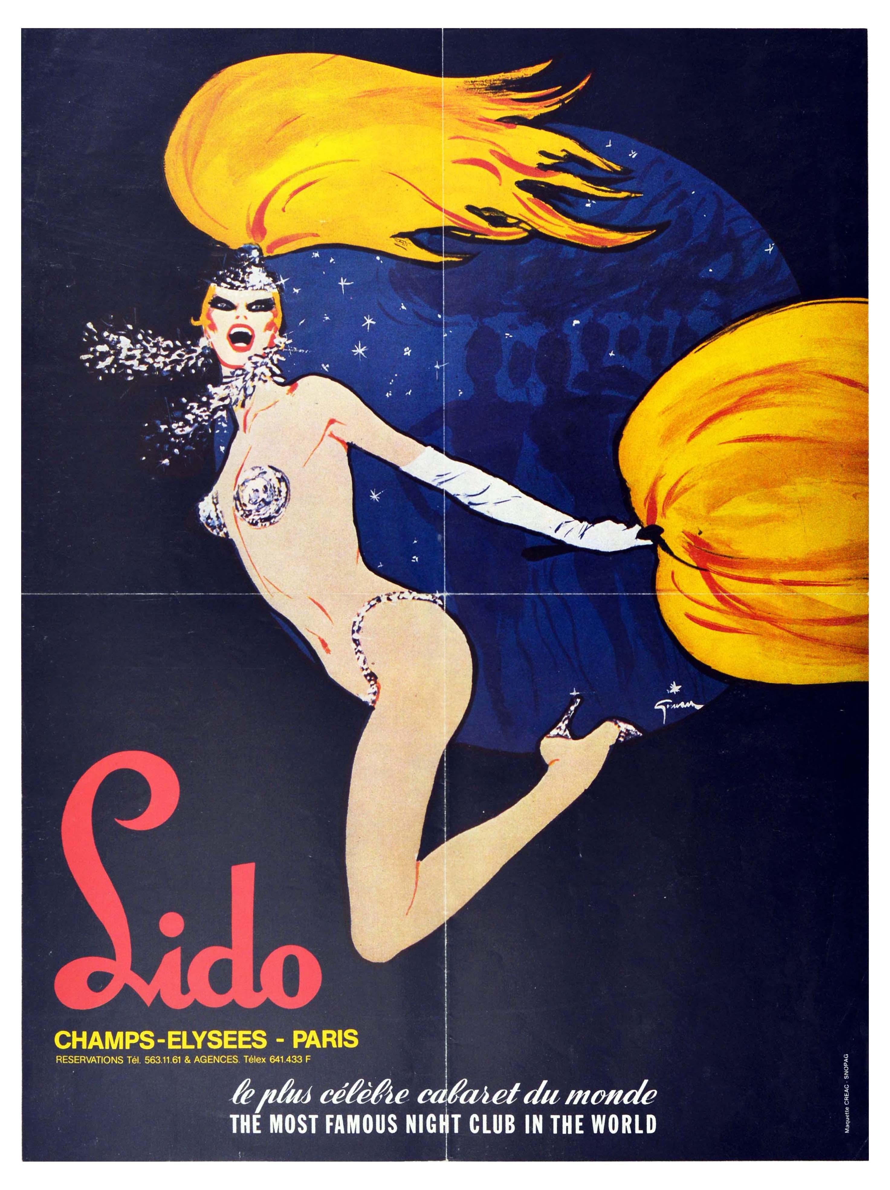 Advertising Poster Lido Cabaret Graue Champs Elysees Paris