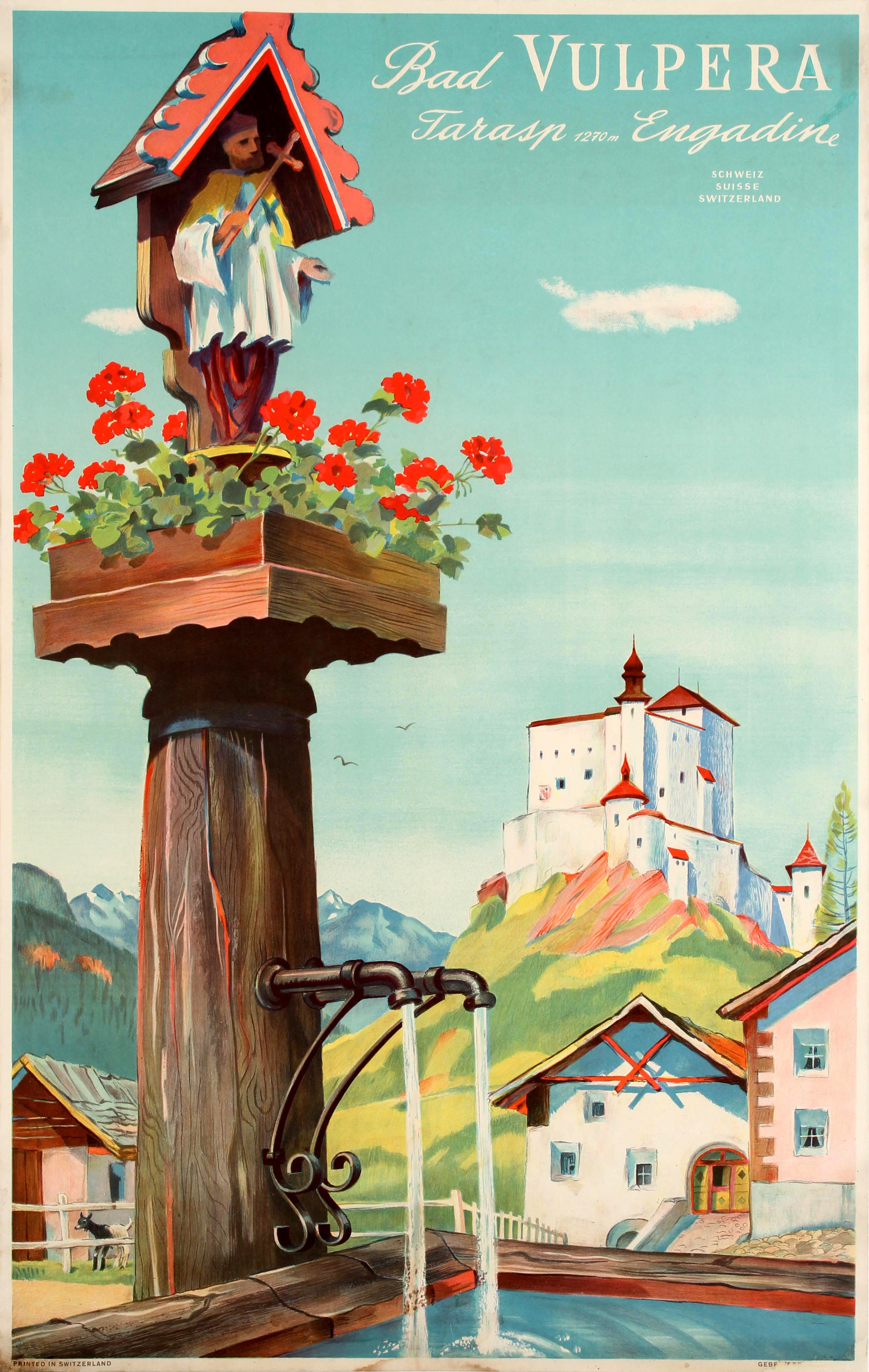 Travel Poster Bad Vulpera Tarasp Engadin Switzerland