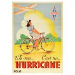 Advertising Poster Hurricane Plane Bicycle