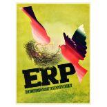 Propaganda Poster ERP Marshall Plan European Cooperation Dove